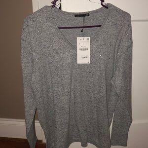 Zara Grey Embellished Sweater